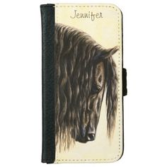 Black Friesian Draft Horse iPhone 6 Wallet Case