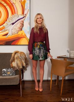 Elizabeth von Thurn Und Taxis: limited-edition Miu Miu skirt made especially  for the store opening on New Bond Street in London - cute cut and regal print make it girly and serious at the same time + sheer Louis Vuitton blouse w gold beaded neck and open-slit back w/ hook