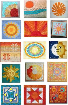 Free sun quilt patterns as shown on Quilt Inspiration. This is for separate quilts, but I'd love to make them as blocks for one big sunshiny quilt! Quilting Tutorials, Quilting Projects, Quilting Designs, Quilting Ideas, Patchwork Quilt, Applique Quilts, Quilt Baby, Small Quilts, Mini Quilts