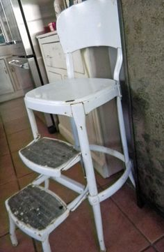 Vintage Metal Kitchen Utility Stool- My mom always had one of these.. and she would paint it to match whatever her color schemes happened to be. >>>OMG! My Mom too!***Brings back great memories.  Like watching Grandma peel apples for pie or apple butter.***