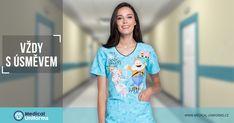 Naše veselé zdravotnické halenky Vám vykouzlí úsměv na tváři. Šiřte dobrou náladu spolu s námi! #zdravotnickehalenky Medical Uniforms, Disney, T Shirt, Tops, Women, Fashion, Supreme T Shirt, Moda, Tee Shirt