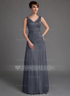 A-Line/Princess V-neck Floor-Length Tulle Lace Mother of the Bride Dress With Beading Sequins (008005647)