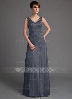 Vestidos princesa/ Formato A Decote V Longos Tule Vestido para a mãe da noiva com Bordado Lantejoulas (008005647)