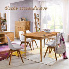 """La mesa de comedor """"Escandi 1"""" es una bonita mesa con el diseño de los años cincuenta. Las patas largas y cónicas son una característica destacada de los muebles escandinavos. Disfruta de cualquier momento de tu vida cotidiana en esta mesa con la pureza y la calidez propios de los muebles nórdicos. ¡Diseño sencillo con atractivo real! Material: Madera de Roble Macizo. Colores: Roble Natural y Roble Blanqueado. Dimensiones: Peso: aprox. 27 kg Fácil y rápido de montar Acabado 100% ECO. Dining Chairs, Furniture, Home Decor, Wooden Dining Tables, House Decorations, Solid Wood, Nordic Furniture, Solid Oak, Scandinavian Design"""