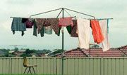 Invented in Aus - The Hills Rotary Hoist, launched in 1946. Image courtesy of the Sydney Morning Herald..... OMG, a 'twirly clothes line' loved them as a kid, played on it daily. Would really appreciate one now as a Mum of three 'muck magnets'....