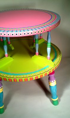 Side Table Hand Painted Furniture Made to Order by Furniture idea furniture inspiration diy Whimsical Painted Furniture, Painted Chairs, Hand Painted Furniture, Funky Furniture, Colorful Furniture, Paint Furniture, Repurposed Furniture, Furniture Projects, Kids Furniture