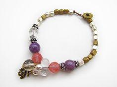 【Pronの天然石とメタルビーズのブレスレット】  #アクセサリーの作り方 #蝋引き紐 #民族アクセサリー #beads  #idea http://www.pron.jp/craft8.html