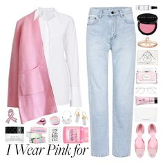 """""""i wear pink for ♡ my grandmother"""" by seacloud ❤ liked on Polyvore featuring Yves Saint Laurent, A.L.C., Chicwish, Roger Vivier, Khirma Eliazov, RetroSuperFuture, Christian Dior, Bling Jewelry, Stacks and Stones and Bobbi Brown Cosmetics"""