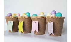 Biodegradable Spring or Easter Treat Cups with Washi Tape Tags from Leboxboutique