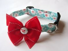 Trendy Red and Turquoise Floral Dog Collar size by jeanamichelle, $14.50