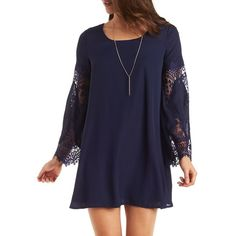 Charlotte Russe Lace Bell Sleeve Shift Dress ($33) ❤ liked on Polyvore featuring dresses, navy, blue sundress, lace shift dress, navy blue dress, lace sundress and lace dress