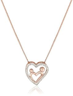 18k Rose Gold over Sterling Silver Created White Sapphire Heart Pendant Necklace 18 * Find out more about the great product at the image link.