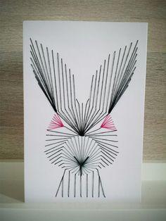 Ostern - Fadengrafik, Grußkarte, Hase, Ostern - ein Designerstück von angeldust909 bei DaWanda