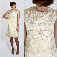 Vintage 1960s Sleeveless Mod Champagne Gold Floral Brocade Babydoll Shift Dress by Bob Bugnand for Sam Friedlander | Small/Medium by AnimalHeadVintage on Etsy