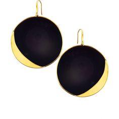 Lana 14k Jet Black Disc Earrings ($1,360) ❤ liked on Polyvore featuring jewelry, earrings, 14 karat gold jewelry, 14k jewelry, lana earrings, disc jewelry and hook earrings