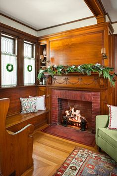 A cozy inglenook in Concord MA | hookedonhouses.net