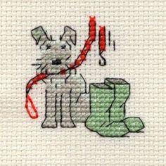 Cross Stitch Kits Mouseloft Stitchlet Cross Stitch Little Dog Range Walkies - Cross Stitch Bookmarks, Mini Cross Stitch, Cross Stitch Cards, Simple Cross Stitch, Cross Stitch Animals, Counted Cross Stitch Kits, Cross Stitching, Blackwork Embroidery, Cross Stitch Embroidery