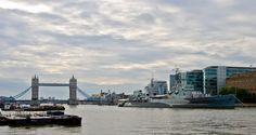 HMS Belfast and Tower Bridge, London, England