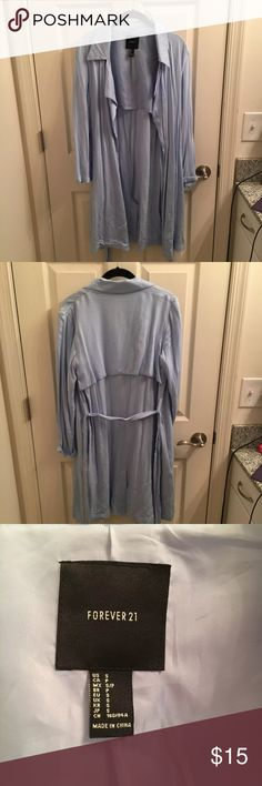 Forever 21 baby blue trench coat/ Duster coat Great condition, belt tie, barely used Forever 21 Jackets & Coats Trench Coats