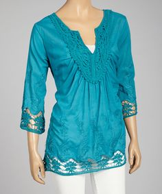 Look at this Simply Irresistible Pretty Blue Embroidered Notch Neck Tunic on #zulily today!