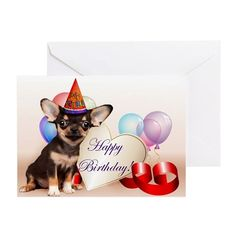 Happy Birthday Chihuahua Dog Greeting Cards  #chihuahua #chihuahuas #dog #dogs #birthday #cards #card #notecards #giftideas #pet #animal
