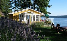 Clam Beach Cottage Bed and Breakfast Beach Cottage Style, Beach Cottage Decor, Coastal Cottage, Salt Spring Island Bc, Small Beach Cottages, Exterior Siding Colors, Beach House Lighting, Backyard Bar, Backyard Cottage