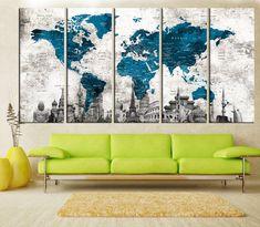 abstract wall art push pin world map canvas print, extra large wall art, world map push pin, wonder World Map Bedroom, Teal Living Rooms, Push Pin World Map, Bedroom Canvas, World Map Canvas, Large Canvas Prints, Dream Wall, Extra Large Wall Art, Abstract Wall Art