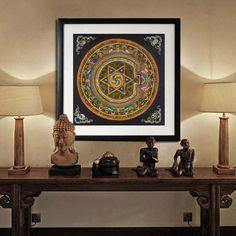 Canvas Print Digital Wall Art Brown Tibetan TangKa Indian Mandala Style Unframed