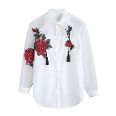 Blouse Floral Embroidery Roses Tassels ARISTOCRATIC Shirt Embroidery, Flower Embroidery, Embroidered Shirts, Vogue, Blouse Styles, Outfit Styles, Long Blouse, Fashion Fabric, Lace Sleeves