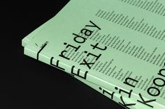Catalogue Design for Friday Exit, Vienna on Behance