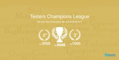 Have you checked out the Testers Champions League By Find out how software testers can hone their skills and win attractive prizes. Software Testing, Champions League, Teamwork, Tips, Counseling