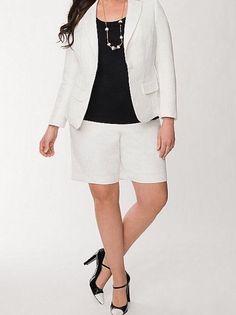 LANE BRYANT DRESSY BROCADE SHORTS - WHITE - PLUS SIZE 26 #LaneBryant #DressShorts