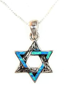 Blue star of David necklace