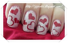 Great Valentines day nails!    I think I am going to do these on valentines day...     # Foreverlone     ------ E <3