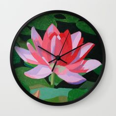 Water Lily Wall Clock by Marjolein on Society6
