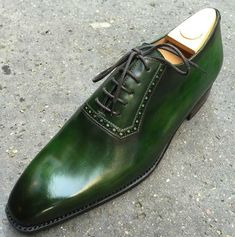 "dandypunkshoes: ""Gustavia Jade green patina whole cut oxfords - damn dashing! """
