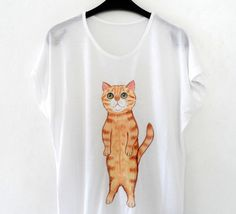 Standing Cat T shirt for catlovers! Unique cat illustration on tee, hand painted tshirt! women fashion
