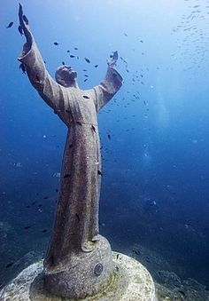 Christ of the Abyss - The Christ of the Abyss is a bronze statue placed in 1954 on the bottom of the bay of San Fruttuoso, between Camogli and Portofino inside Portofino's Protected Natural Marine Area, 15 meters deep.