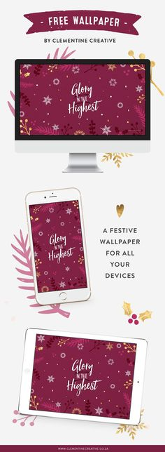 Decorate your tech devices for Christmas with this beautiful free wallpaper. It features a maroon background with scattered snowflakes and foliage. Click here to download it for your desktop, tablet or phone.