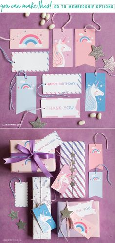 Download and print unicorn gift tags for your next celebration!