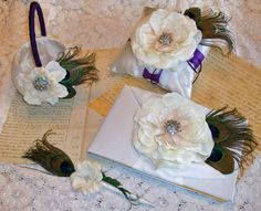 Bloom Collection  Purple Peacock and Ivory by DESIGNERSHINDIGS, $128.00
