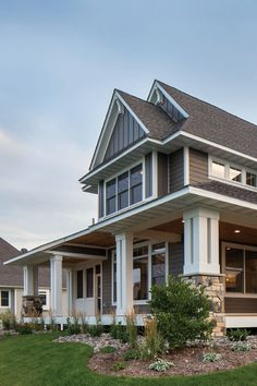 Achieve the modern farmhouse look with an exterior home remodel using LP® SmartSide® Trim & Siding. Exterior House Colors, Exterior Design, Porch Beams, Front Porch Makeover, Beautiful Home Designs, My Dream Home, Dream Big, Building A New Home, Modern Farmhouse