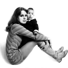 Baby Jamie Lumley with his famous Mum, Joanna Lumley.