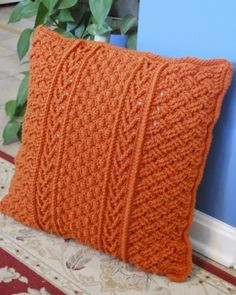 Crochetville 2015 Designer Blog Tour | Featured Designer Bonnie Barker | Pattern: Orange Aran Pillow | #natcromo