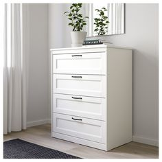 IKEA - SONGESAND, chest, white, Of course your home should be a safe place for the entire family. That's why hardware is included so that you can attach the chest of drawers to the wall. Smooth running drawers with pull-out stop. White Bedroom Furniture, Ikea Bedroom, Bedroom Decor, My New Room, My Room, Bedroom Chest Of Drawers, Ikea White Chest Of Drawers, Pastel Room, Dresser Storage