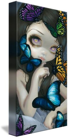 """A Confusion of Wings"" by Jasmine Becket-Griffith, Celebration, Florida // I could never tire of painting butterflies, definitely one of my favourite things to paint! My favourite in particular is the Blue Morpho, and they feature prominently in this piece. The fairy girl in the background is nearly obscured by the brilliant vibrancy of the flutter... // Imagekind.com -- Buy stunning fine art prints, framed prints and canvas prints directly from independent working artists and photographers."
