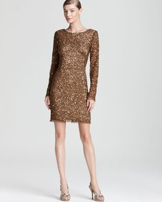 Adrianna Papell Sequin Dress - Long Sleeve | Bloomingdale's