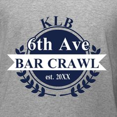 Old School Bar Crawl t-shirt template. Personalize this design with your initials, names, bar and event location. Edit and design all online with free 10-day shipping in the U.S.A.