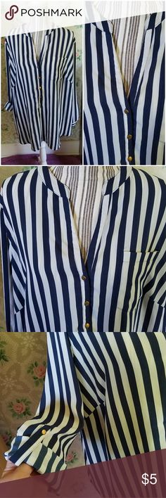 Navy blue and white striped blouse Size 3x rolled sleeve blouse by Zac & Rachel. You can wear the sleeves down normal or cuff them up and secure with the button. No stretch to this item. Deep v-neck. Slightly flowy. Perfect for the office / business casual! *Smoke free *Pet friendly *Bundle discounts Zac and Rachel Tops Blouses