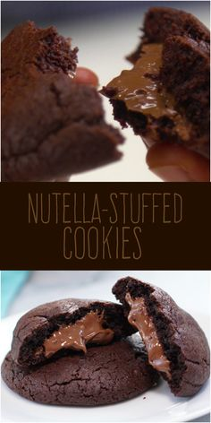 Pull apart one of these ooey gooey double-chocolate cookies and marvel at how it gushes melty Nutella just like a mini lava cake. You're going to want to eat these right out of the oven. We know you'v (Bake Donuts Nutella) Nutella Filled Cookies, Lava Cookies, Double Chocolate Cookies, Köstliche Desserts, Delicious Desserts, Dessert Recipes, Yummy Food, Desserts Nutella, Pancakes Nutella